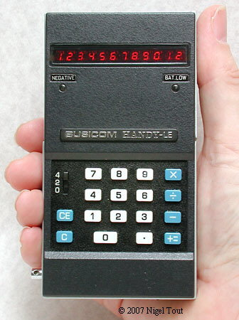 the pocket calculator race busicom le 120a handy using the mk6010l calculator on a chip developed by mostek this was the world s first true pocket calculator small enough to fit