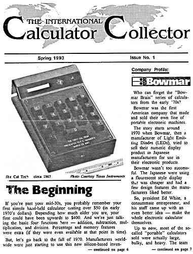 "Issue No. 1 of ""The International Calculator Collector"""