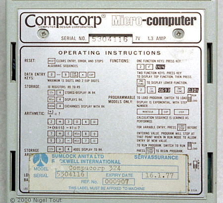 Label of Sumlock-Compucorp  324G